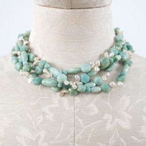 Real Quartz & Pearls Chunky Choker Necklace Blue